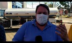 Prefeito Wìsner Araújo fala sobre a desinfecção a base de hipoclorito de sódio, nas principais ruas.