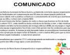 Prefeitura de Nova Aurora faz comunicado
