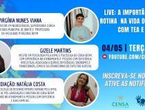 A importância da rotina na vida da pessoa com autismo e deficiência intelectual é tema da 3ª live do CENSA