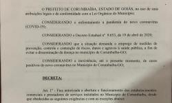 Prefeito Wísner Araújo faz novo Decreto Municipal 1653/20, acompanhando o Decreto Estadual 9653/20.