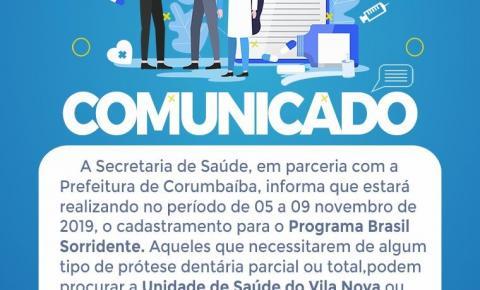 Amanhã começa o cadastramento do  Programa Brasil Sorridente em Corumbaíba