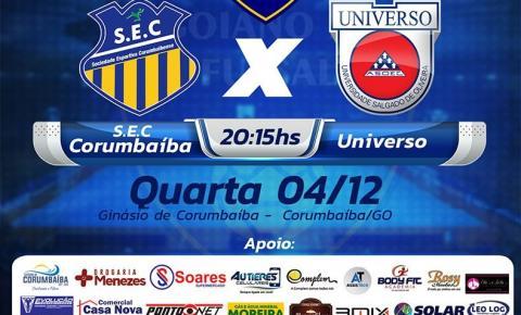 Nesta quarta 04/12 tem SEC/CORUMBAÍBA X UNIVERSO semifinal Campeonato Goiano de Futsal