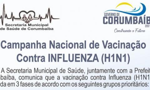 Campanha de vacinação contra a gripe começa amanhã em Corumbaíba