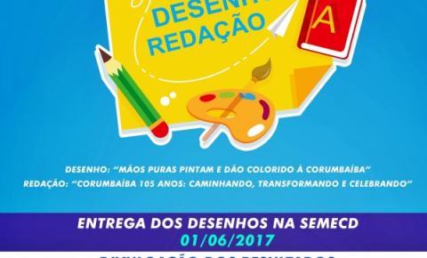 SEMECD de Corumbaíba altera  data de Premiação do Concurso de Desenho e Redação.