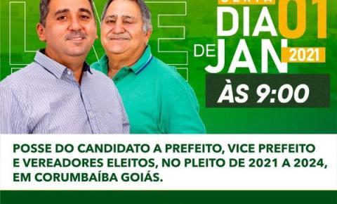 Posse do prefeito, vice - prefeito e vereadores de Corumbaíba será amanhã a partir das 09hs.