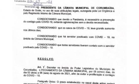 Câmara Municipal  de Corumbaíba cancela atividades