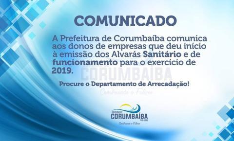 Emissão do  Alvará de Funcionamento e Sanitário 2019 começa a ser expedido em Corumbaíba
