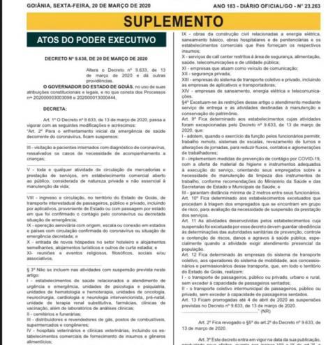 Governador Ronaldo Caiado reedita  decreto, e prorroga até 4 de abril de 2020 as suspensões com novas regras