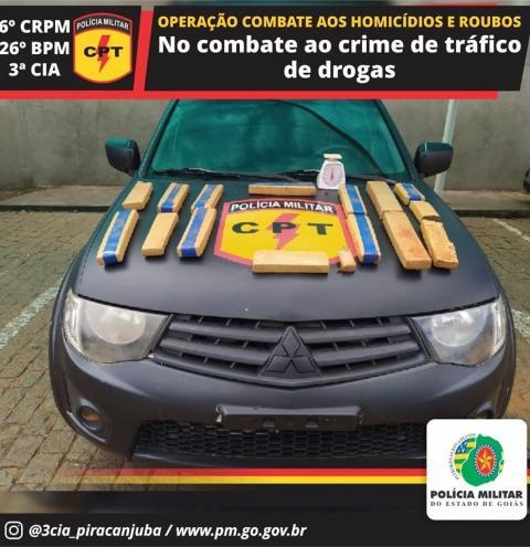 CPT de Caldas Novas apreende 11 kg de maconha em Piracanjuba suspeito foi preso.
